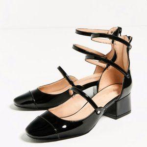 Zara Black glossy strappy Chunky heels